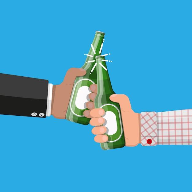 ガラスとビールのボトル。ビールアルコール飲料。 Premiumベクター