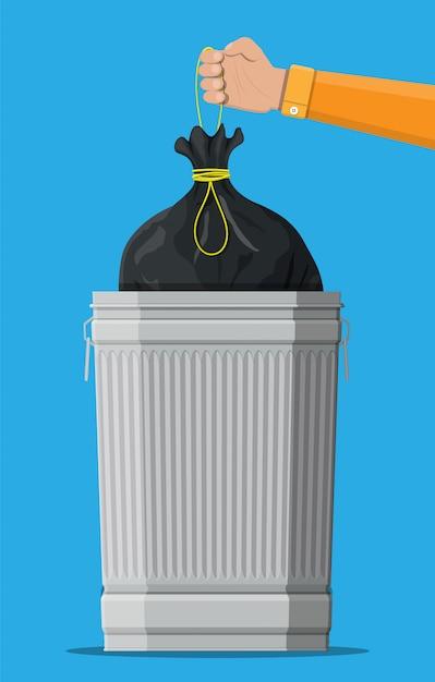 巨大なゴミ箱は青に分離できます。 Premiumベクター