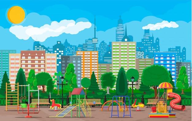 Детская площадка детский сад панорама Premium векторы
