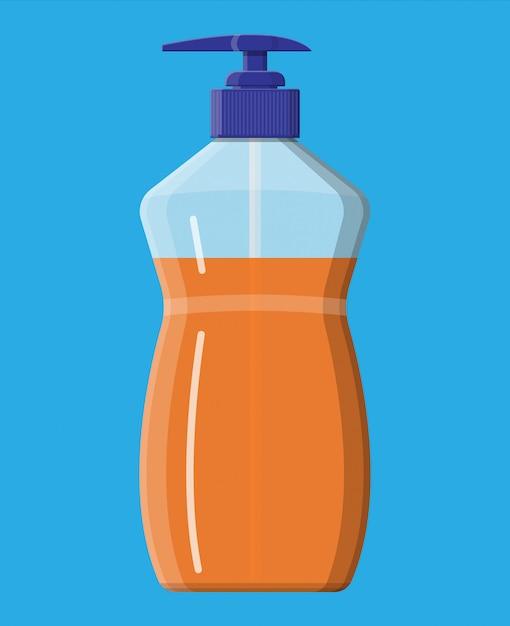 Бутылка с жидким мылом. гель для душа или шампунь. Premium векторы