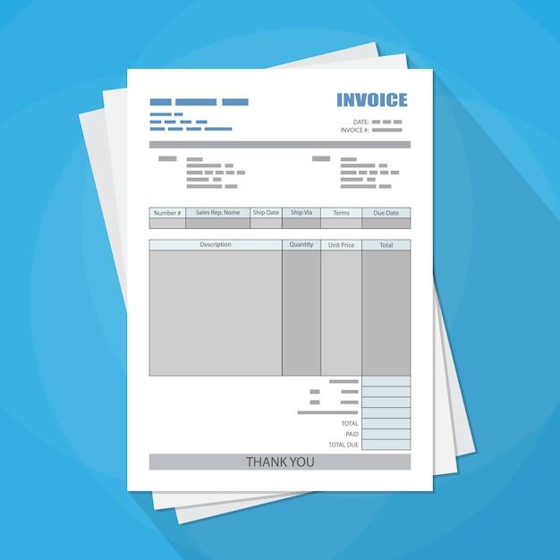 請求書用紙を記入してください。税金。領収書。ビル。 Premiumベクター
