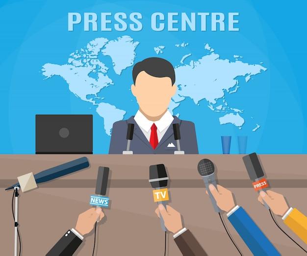 Пресс-конференция, мировые новости Premium векторы