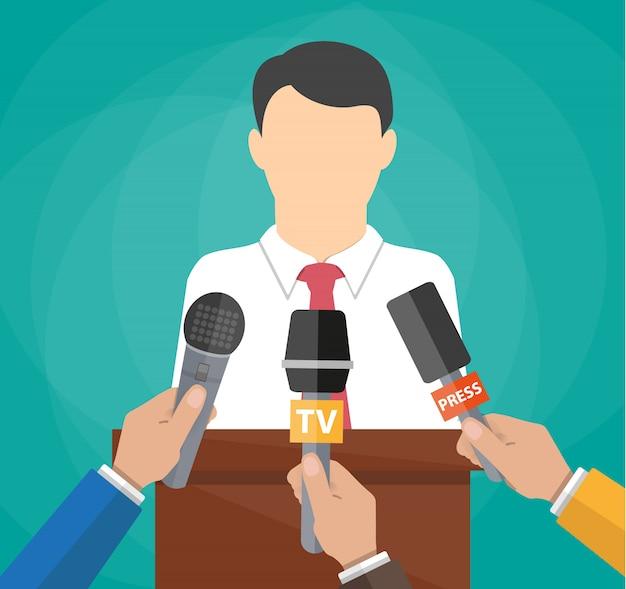 Оратор и руки журналистов Premium векторы