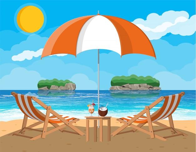 Пейзаж пальмы на пляже Premium векторы