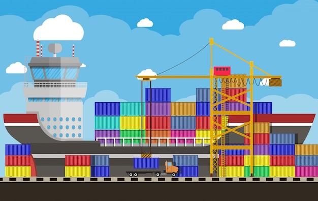 貨物船、コンテナクレーン、トラック。港湾物流 Premiumベクター