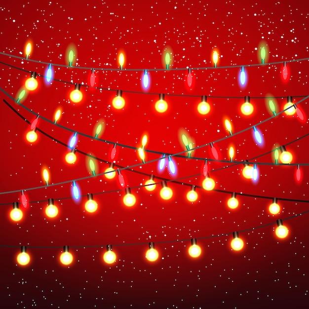 クリスマスライトの背景 Premiumベクター
