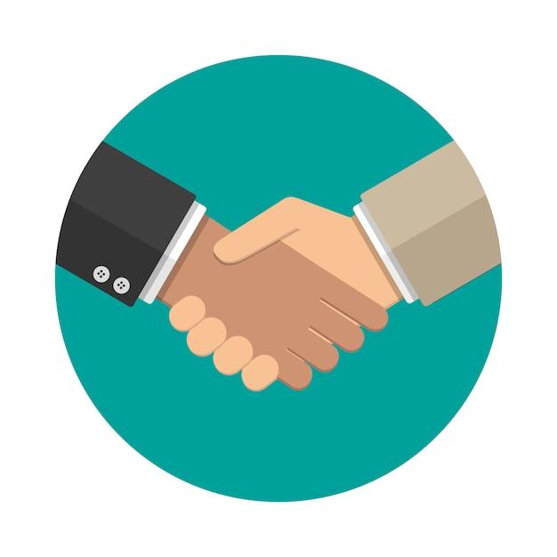 Иконка рукопожатие в плоском стиле Premium векторы