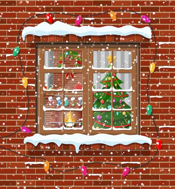 レンガの壁のクリスマスウィンドウ。 Premiumベクター