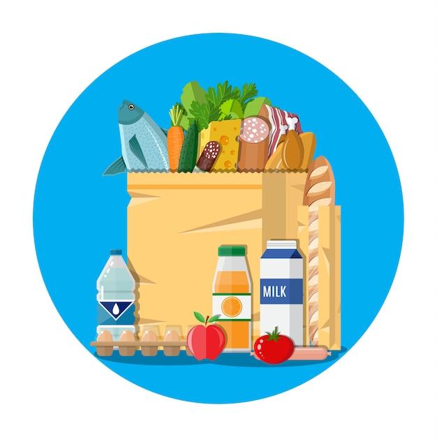 食料品がいっぱい入った紙の買い物袋 Premiumベクター