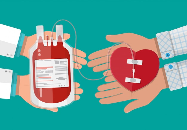 血液バッグと心臓を持つドナーの手 Premiumベクター