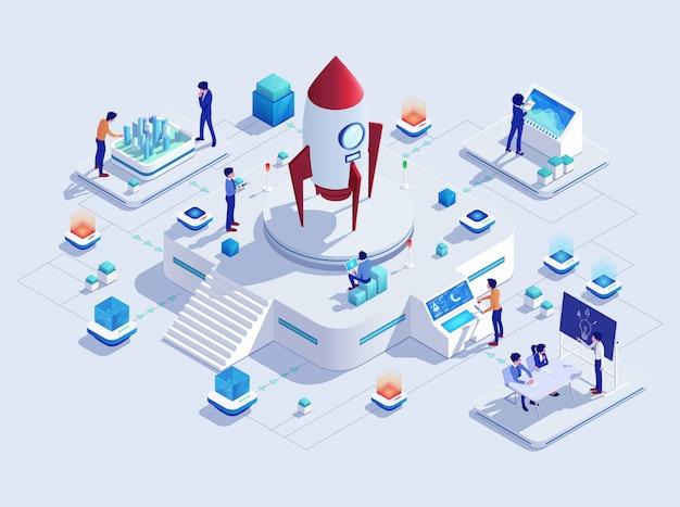 スタートアップロケットビジネスプロジェクトコンセプト、ロケットイラスト Premiumベクター