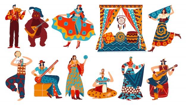 Цыганские герои мультфильмов в стиле бохо, люди в этнических костюмах на белом, иллюстрация Premium векторы