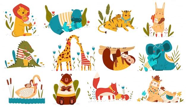 Милый ребенок животных и мама, родители любят ребенка мультипликационный персонаж, набор на белом, иллюстрация Premium векторы