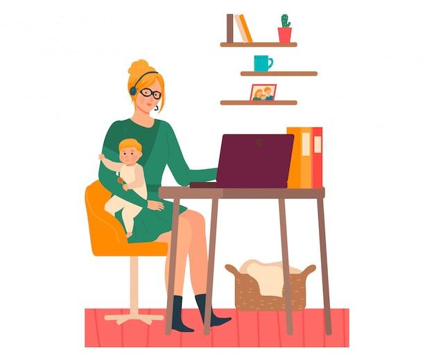 Мать работает из дома иллюстрации, мультфильм красивая молодая женщина персонаж с ребенком в руках, внештатный на белом Premium векторы