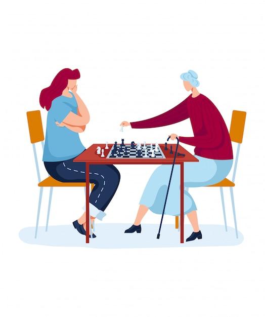 戦略的な家族チェスボードゲーム、興味深い趣味、楽しい娯楽、漫画のスタイルの図では、白で隔離されるデザイン。 Premiumベクター