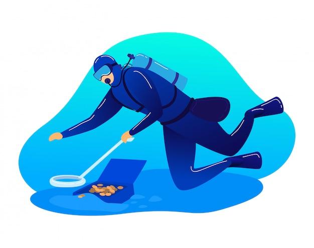 男性キャラクタースキューバダイバー職業研究海、白、漫画イラストで隔離水中海の宝探し。 Premiumベクター