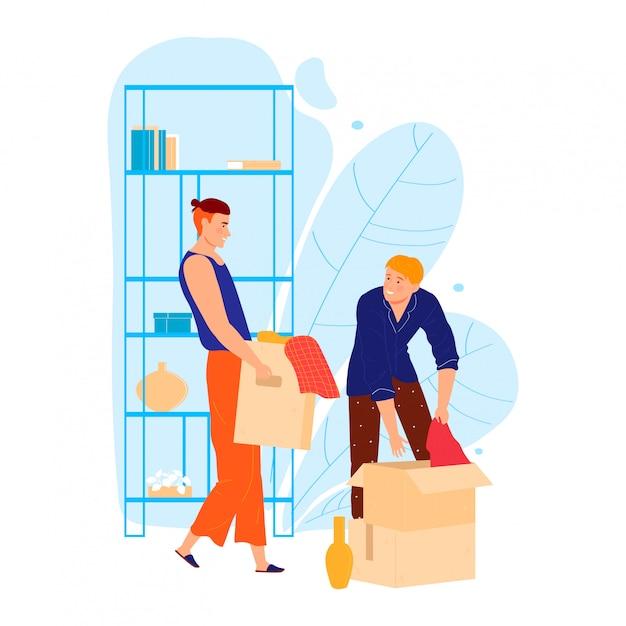 Мужской персонаж помогает другу переехать в дом, человек нести коробку личных вещей, изолированных на белом Premium векторы