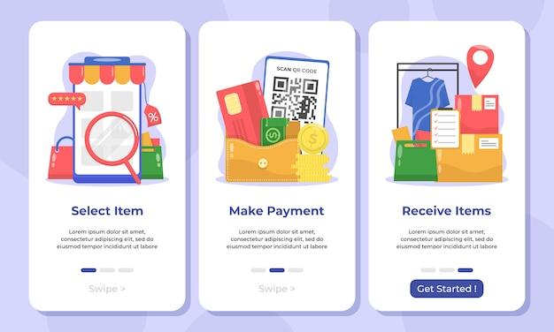 Иллюстрация интернет-магазина на экранах мобильных приложений Premium векторы