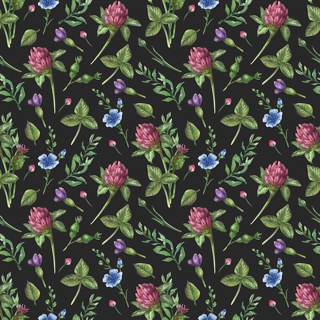 水彩のシームレスな花柄。野生の花、カモミール、葉、ハーブ、黒の背景に Premiumベクター