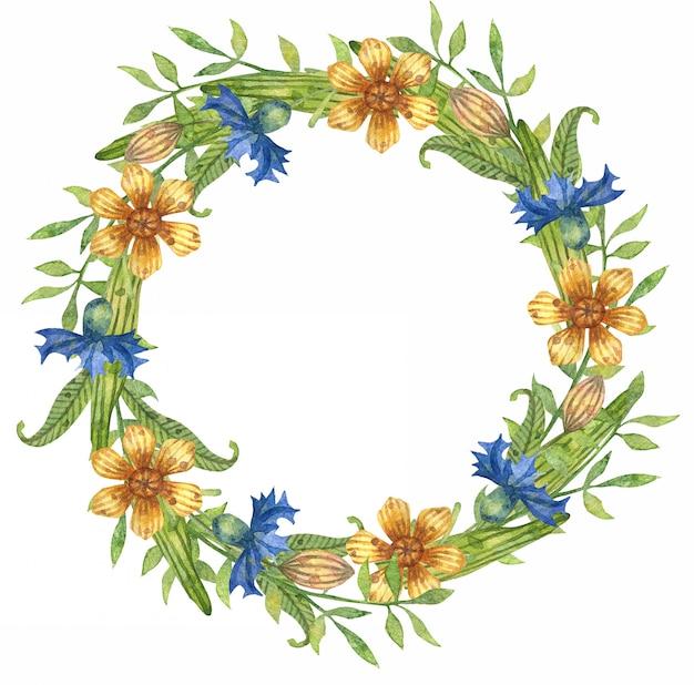 Акварельные иллюстрации весенних листьев, ветвей и цветов. цветочный венок. Premium векторы