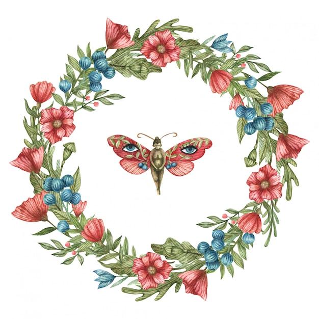 赤と青の野生の花と葉の水彩画の植物の花輪。デザインはがきやソーシャルネットワークに適しています。かわいい蝶の少女。 Premiumベクター