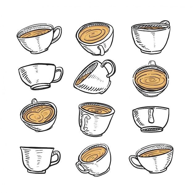 任意の位置にコーヒーのカップの手描きのスケッチ Premiumベクター