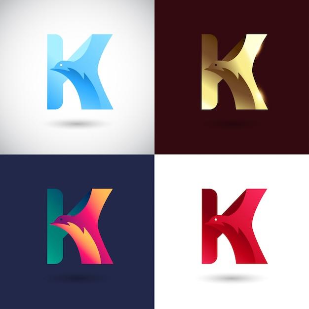 Креативный дизайн логотипа буква к Premium векторы
