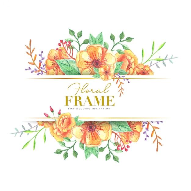 水彩花イラスト結婚式の花のフレーム ベクター画像 プレミアムダウンロード
