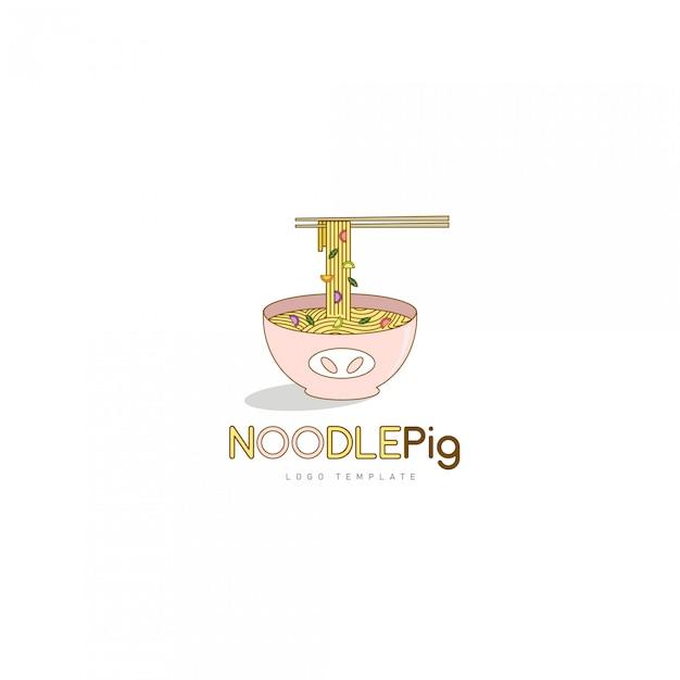 アジア料理レストランのロゴの麺豚のロゴのテンプレート Premiumベクター