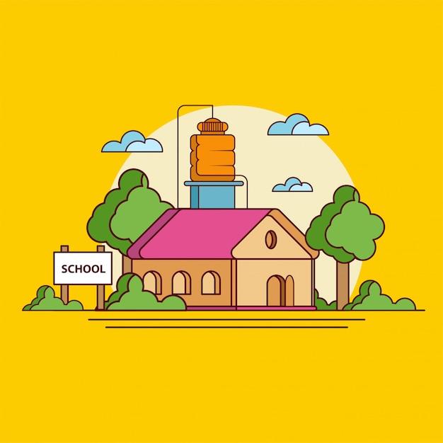 Школа на закате на желтом Premium векторы