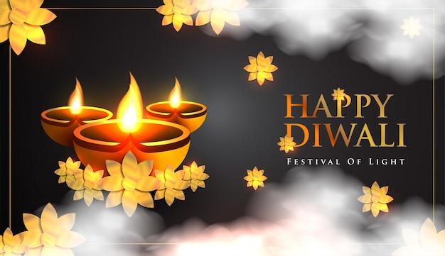 Счастливый индийский праздник празднования дивали Premium векторы