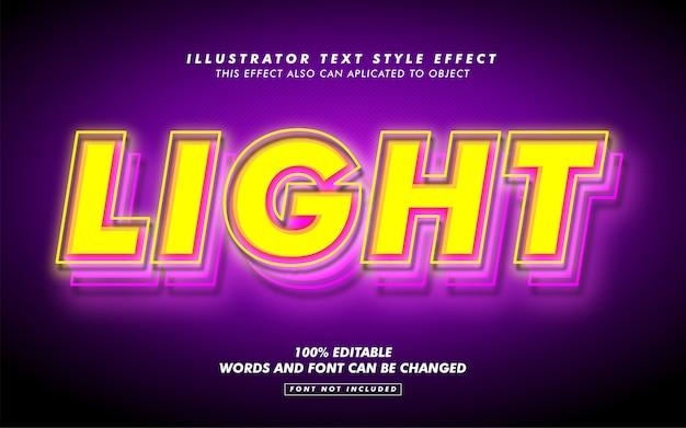 Желтый свет, стиль текста, эффект макет Premium векторы