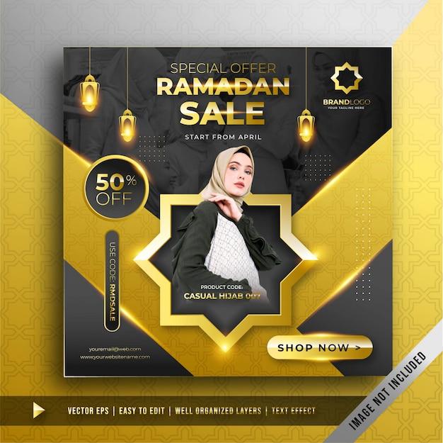 Роскошный золотой рамадан продажа квадратный баннер промо шаблон Бесплатные векторы