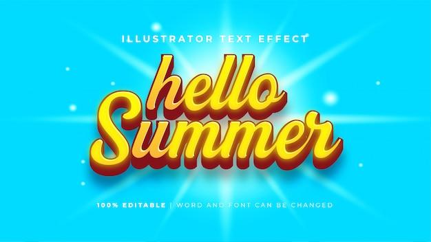 こんにちは夏のテキスト効果 無料ベクター