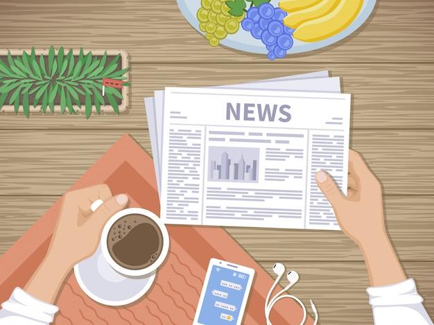 Человек читает последние новости на завтрак. Premium векторы