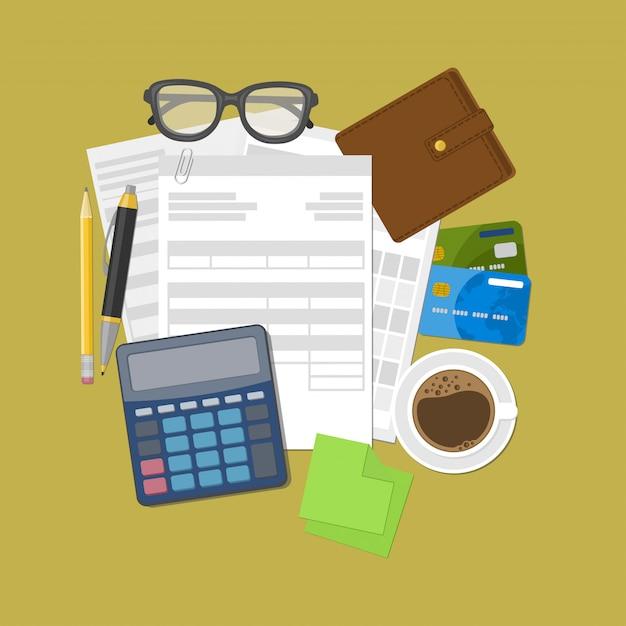 財布、クレジットカード、電卓、ペン、鉛筆、コーヒー、グラス、メモ用ステッカー。 Premiumベクター