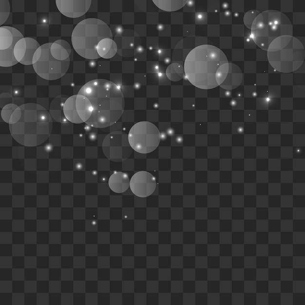 Белые искры и золотые звезды сверкают специальным световым эффектом Premium векторы
