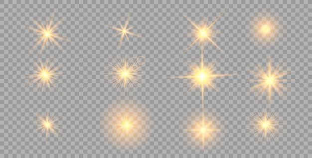 Золото светящиеся огни эффект, вспышка, взрыв и звезды. Premium векторы