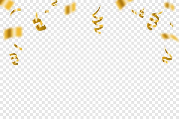 Золотой крошечный конфетти и ленты стример падают. яркая золотая праздничная мишура. вечеринка Premium векторы
