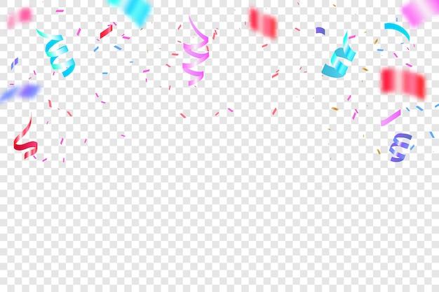 Красочное яркое конфетти. праздничная векторная иллюстрация. конфетти падения праздничное украшение для празднования дня рождения. Premium векторы