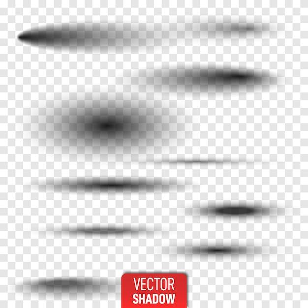 Набор прозрачной овальной тени с мягкими краями изолированы. реалистичная изолированная тень. серые круглые и овальные тени векторные иллюстрации. Premium векторы