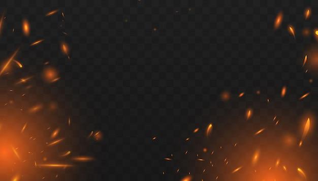 Реалистичный изолированный огненный эффект для декорирования и покрытия прозрачным. эффект красного и желтого света Premium векторы