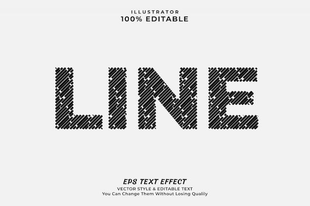Текстовый эффект линии, редактируемый шрифт Premium векторы