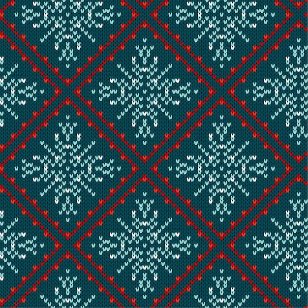 伝統的なクリスマスは、雪の結晶の装飾的なパターンを編んだ。クリスマスニットのシームレスパターン Premiumベクター