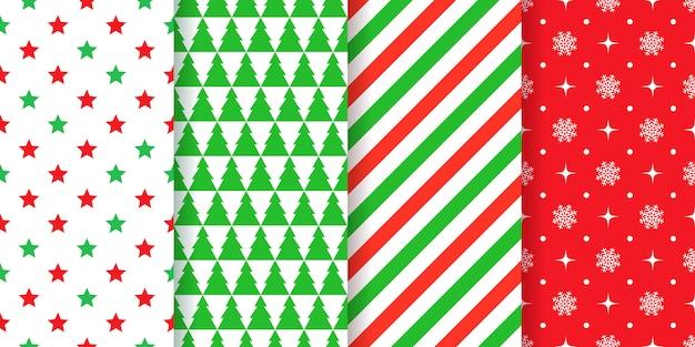 クリスマスのシームレスなパターンセット Premiumベクター