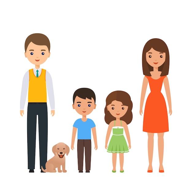 Семья стоя вместе иллюстрации Premium векторы