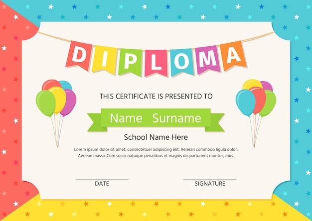 子供の卒業証書、証明書。 Premiumベクター