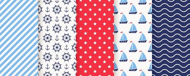 Морской, морской бесшовные модели. иллюстрации. морские фоны. Premium векторы