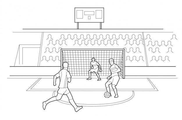 Футболисты, защищающие ворота. зрители сидят на трибунах стадиона. черная иллюстрация на белом фоне Premium векторы