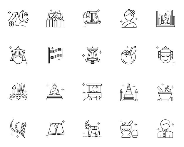 Набор иконок наброски культуры таиланда Premium векторы